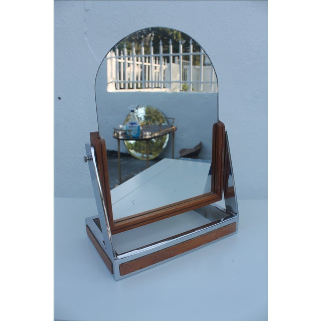 Chrome & Wood Vanity Mirror For Sale In Miami - Image 6 of 8