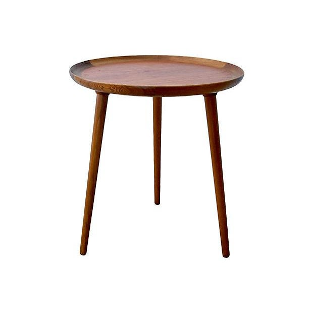 Danish Modern Teak & Walnut Tray Table For Sale - Image 5 of 6