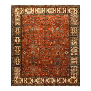 One-Of-A-Kind Oriental Serapi Hand-Knotted Area Rug, Crimson, 8' 0 X 9' 5 For Sale