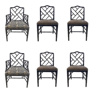 Currey & Co. Asian Modern Chippendale Style Bamboo Dining Chair Set of Six For Sale