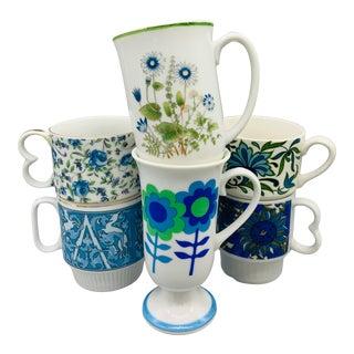 1960s Mismatched Blue Vintage Pedestal Mugs - Set of 6 For Sale