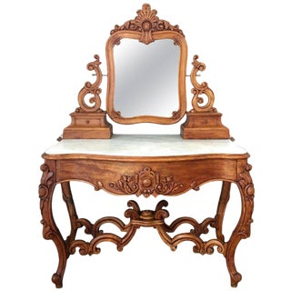 Carved Victorian Mahogany Vanity or Dressing Table with Attached Mirror For Sale