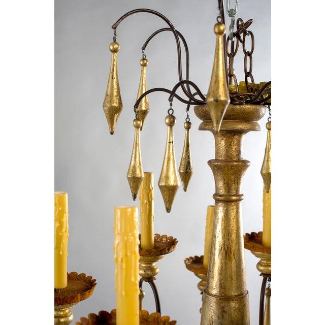 Giltwood Large Italian Twelve Light Gilt Wood Chandelier For Sale - Image 7 of 8
