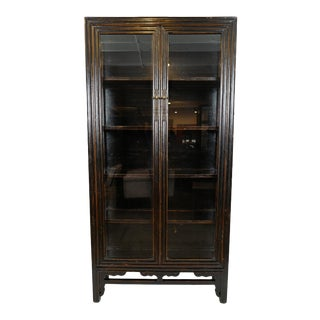 Ebony Glass Display Cabinet For Sale