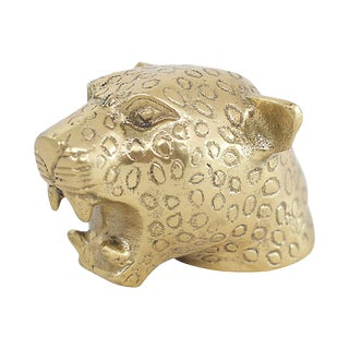 Brass Cheetah Figural Bottle Opener For Sale