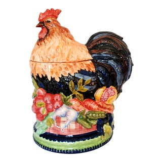1990s Americana Tracy Porter Stonehouse Farm Collection Ceramic Rooster Cookie Jar