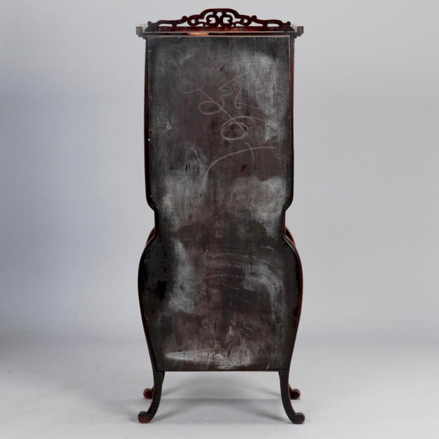 Tall Narrow Chinese Carved Wood Vitrine Display Cabinet For Sale - Image 9 of 11