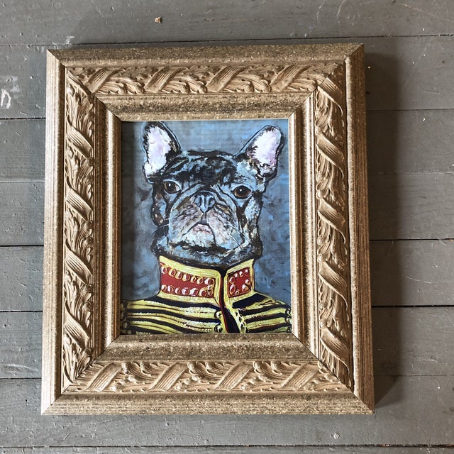 """French Bulldog Print by Contemporary Artist Judy Henn """" Military Frenchie """" For Sale - Image 4 of 4"""