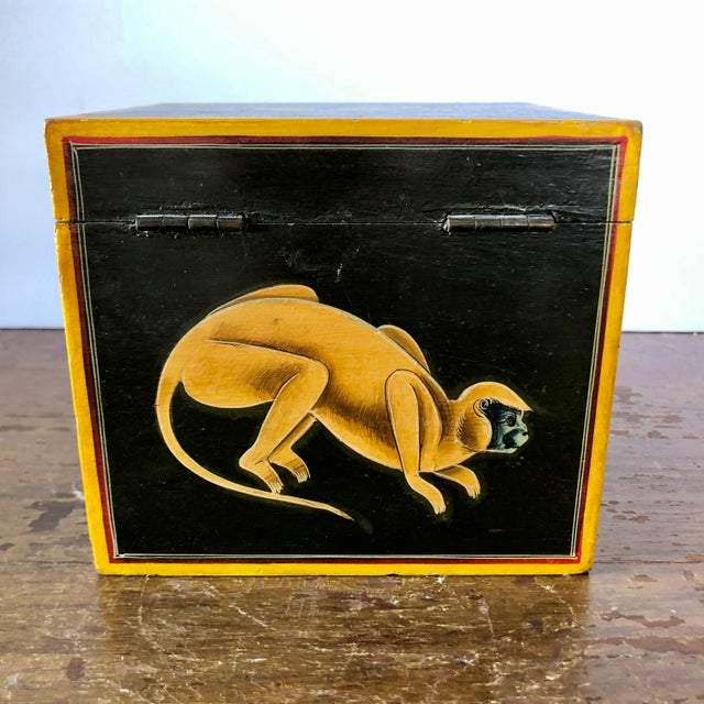 Hand Painted Green Yellow Wood Monkey Chest For Sale In Buffalo - Image 6 of 9