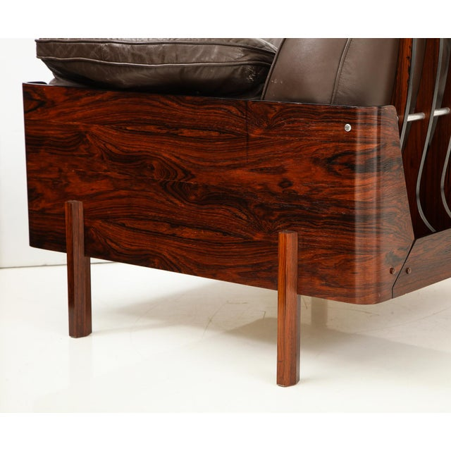 Metal Brazilian Lounge Chair in Jacaranda and Brown Leather For Sale - Image 7 of 9