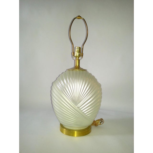 Hollywood Regency Glass & Brass Table Lamp For Sale - Image 5 of 7