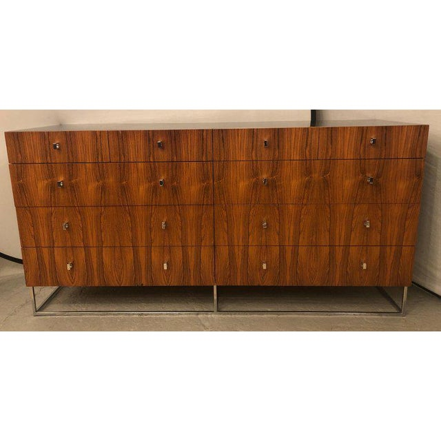 Hollywood Regency Hollywood Regency Style Rougier Rosewood and Black Lacquer Credenza Chest Server For Sale - Image 3 of 10