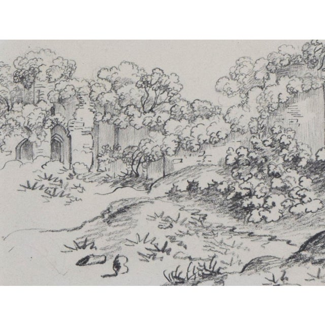 """19th Century Antique """"Castle Ruins"""" Graphite Landscape Drawing For Sale In New York - Image 6 of 6"""
