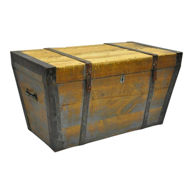 Late 19th Century Antique Primitive Wooden Trunk/Blanket Chest For Sale