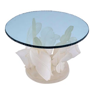 1970s Hollywood Regency Lucite and Glass Leaf Coffee Table For Sale