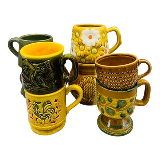 1960s Mismatched Boho Chic Ceramic Cups - Set of 8 For Sale