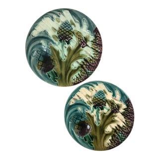 Luneville Majolica Asparagus Plates - A Pair