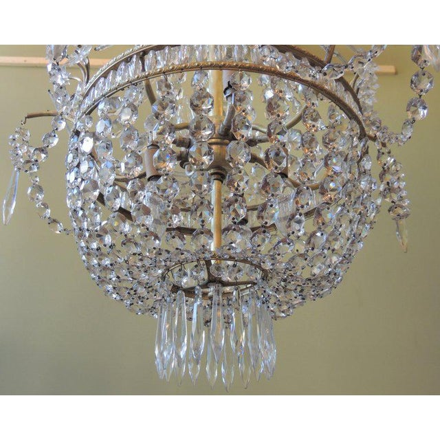 Early 20th C French Bronze and Crystal Chandelier For Sale In Charleston - Image 6 of 8