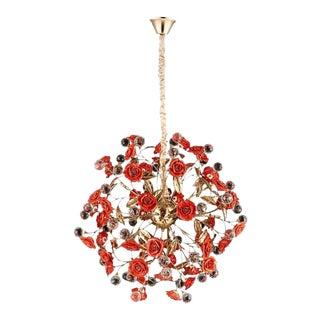 Organic Garden of Roses Murano Porcelain Chandelier For Sale