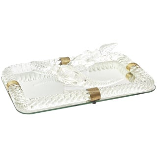 Baccarat Style Glass Mirror Vanity Tray With 2 Perfume Bottles For Sale