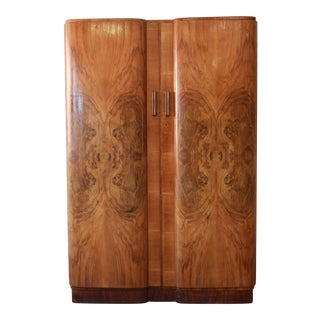French Art Deco Burl Wood Armoire, Circa 1920s