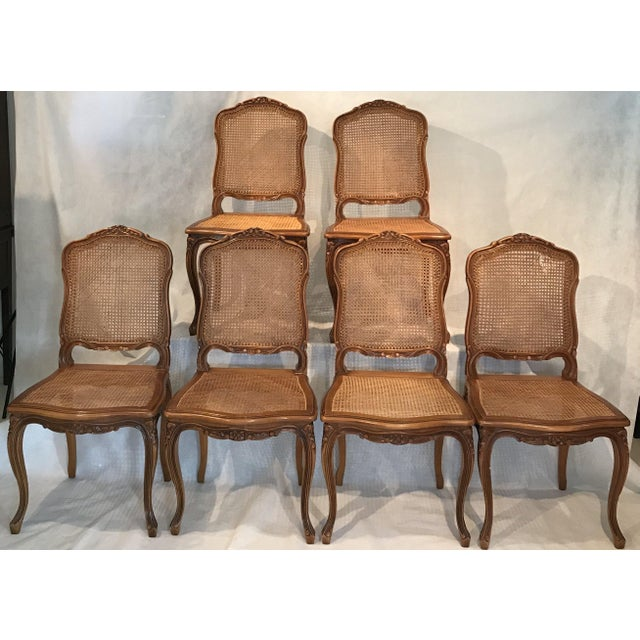 Classic Antique Set of 6 Louis XV Carved Walnut & Caned Dining Chairs For Sale - Image 13 of 13