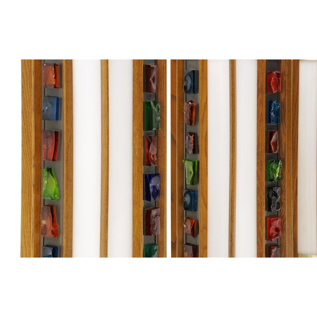 1960s Danish Teak Ceiling Lights / Chandeliers, Colorful Details. 10 available! For Sale - Image 9 of 10