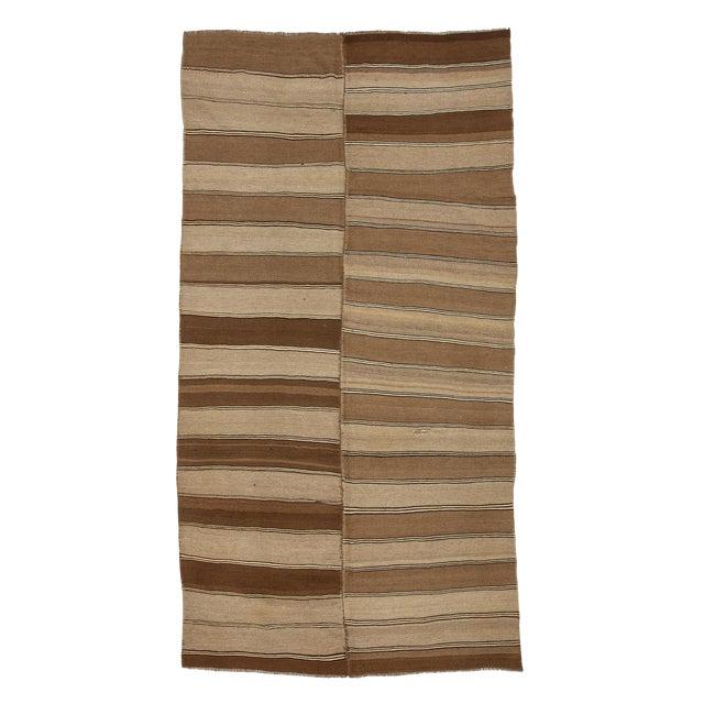 1960s Vintage Brown Striped Kars Wool Kilim Rug- 5′10″ × 11′7″ For Sale
