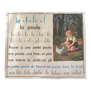 Vintage French School Chicken Poster For Sale