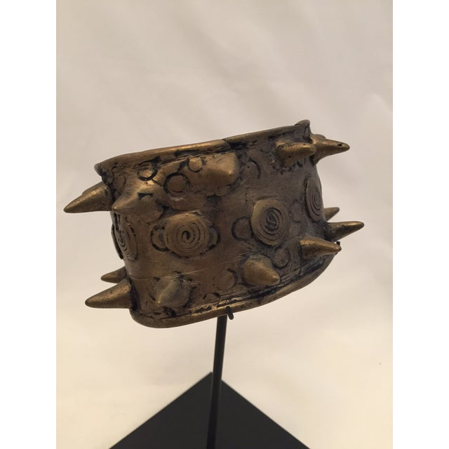 Brutalist Mounted Brass Spiked Cuffs - a Pair For Sale - Image 3 of 6