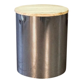 C. Jere Chrome Drum Table With Travertine Top For Sale