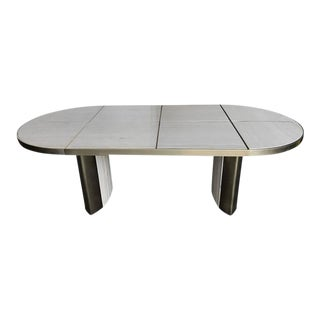 Italian Travertine Marble Oval Dining Table, 1970 For Sale