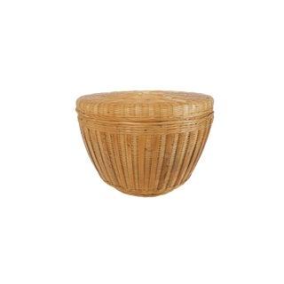 Vintage Extra Large Natural Wicker Round Lidded Box Basket
