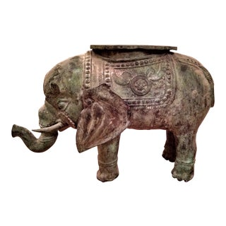 19th Century Religious Indian Bronze Elephant Statue Table