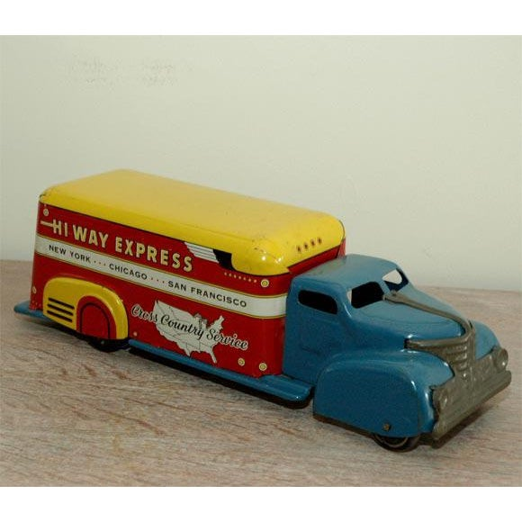 Metal Marx Tin Litho Highway Express Toy Truck For Sale - Image 7 of 8
