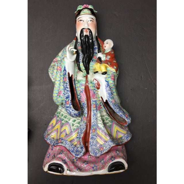 Chinese Porcelain Deities, Fu, Lu, Shou Wall Hanging Figures - Set of 3 For Sale In Washington DC - Image 6 of 10