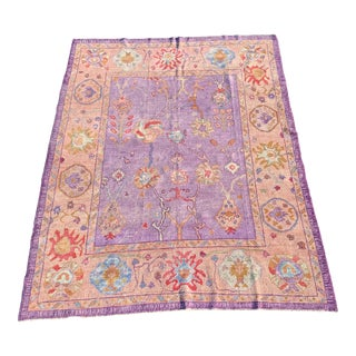 Contemporary Turkish Oushak Purple Rug - 7′11″ × 10′9″ For Sale