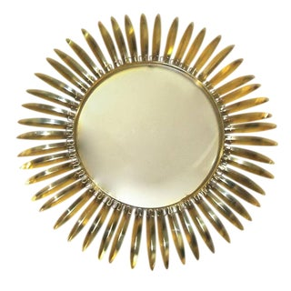 French Brass Soleil or Sunburst Convex Wall Mirror