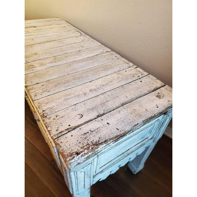 White Antique Distressed Painted Plank Top Console Table For Sale - Image 8 of 11