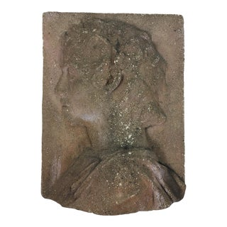 Vintage Classical Profile Stone Wall Plaque For Sale