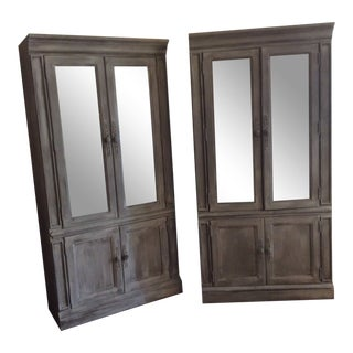 1980s Boho Chic Gray Wooden Mirrored Cabinets - a Pair