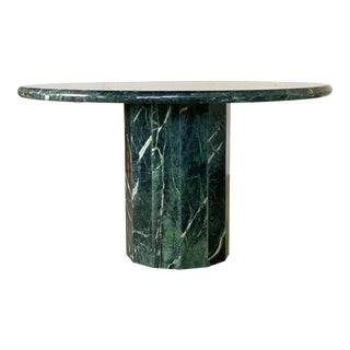 1970s Italian Round Emerald Green Marble Stone Dining or Center Table For Sale