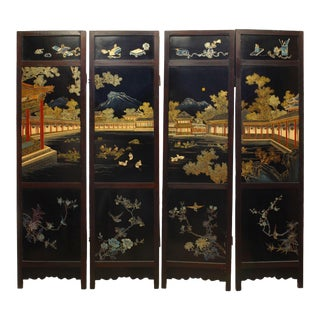 Asian Chinese Qing Dynasty Century Polychromed and Lacquered Four Panel Screen For Sale