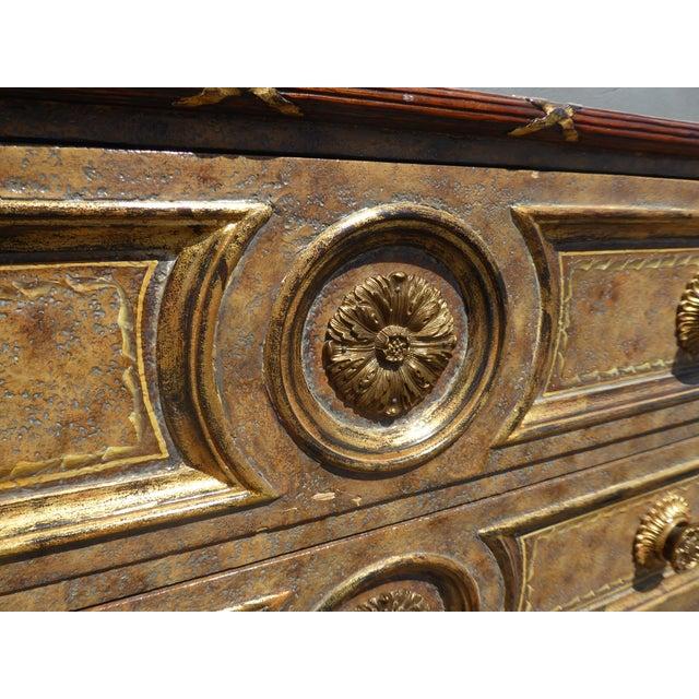 Metal Vintage Maitland Smith Beige & Gold Ornate 3 Drawer Chest ~ Hollywood Regency Dresser For Sale - Image 7 of 13