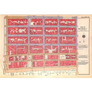 New York City Map Les South St., Pike Slip, Rutgers, Corlears Hook Park,St., Montgomery St. (Pl. 13-14) 1934 For Sale