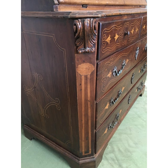 18th Century Spanish Walnut Marquetry, Chest of Drawers With Flap For Sale - Image 9 of 12