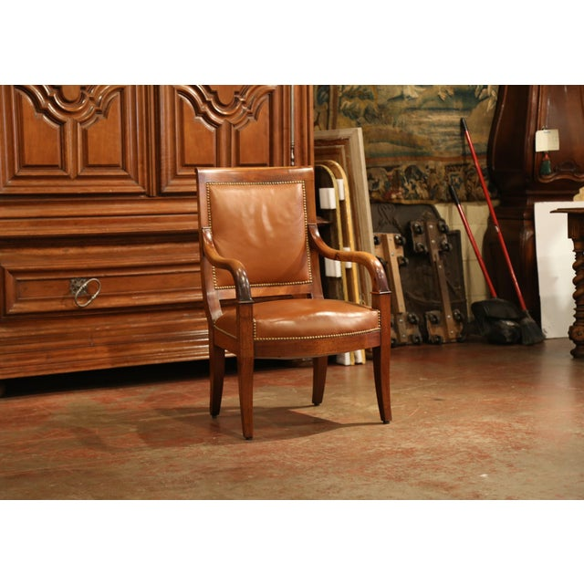 Mid 19th Century 19th Century French Directoire Carved Walnut Desk Armchair With Brown Leather For Sale - Image 5 of 9