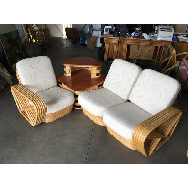 Rare Square Pretzel rattan 3 seater sectional sofa with Paul Frankl inspired design featuring 6 strand rattan arms and...
