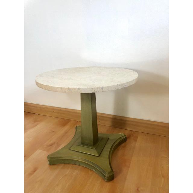Hollywood Regency Vintage Italian Travertine Table For Sale - Image 3 of 6