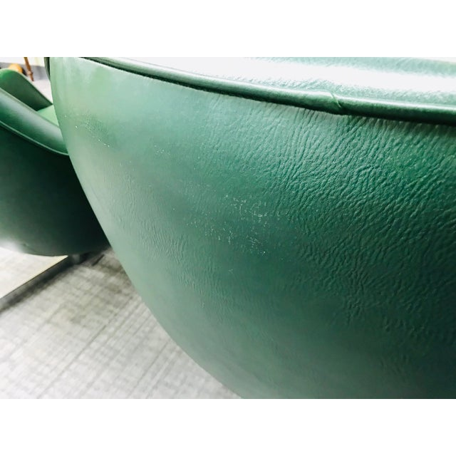 Mid-Century Modern Dark Green Leatherette Tandem Seat For Sale - Image 10 of 12